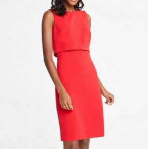 (Used) Size 0 Ann Taylor red pearl shoulder dress